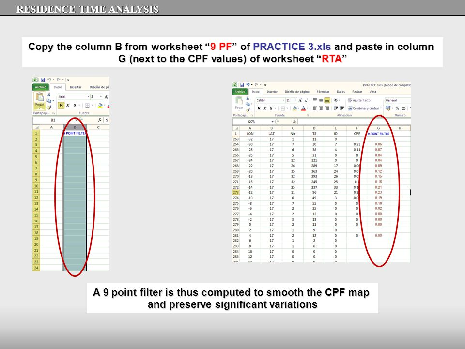 RESIDENCE TIME ANALYSIS Copy the column B from worksheet 9 PF of PRACTICE 3.xls and paste in column G (next to the CPF values) of worksheet RTA A 9 point filter is thus computed to smooth the CPF map and preserve significant variations