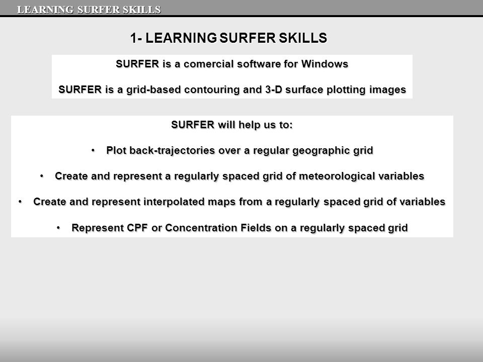1- LEARNING SURFER SKILLS SURFER is a comercial software for Windows SURFER is a grid-based contouring and 3-D surface plotting images LEARNING SURFER SKILLS SURFER will help us to: Plot back-trajectories over a regular geographic gridPlot back-trajectories over a regular geographic grid Create and represent a regularly spaced grid of meteorological variablesCreate and represent a regularly spaced grid of meteorological variables Create and represent interpolated maps from a regularly spaced grid of variablesCreate and represent interpolated maps from a regularly spaced grid of variables Represent CPF or Concentration Fields on a regularly spaced gridRepresent CPF or Concentration Fields on a regularly spaced grid