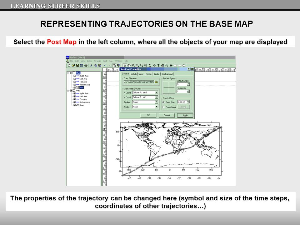 REPRESENTING TRAJECTORIES ON THE BASE MAP LEARNING SURFER SKILLS The properties of the trajectory can be changed here (symbol and size of the time ste