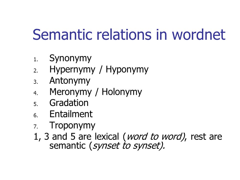 Semantic relations in wordnet 1. Synonymy 2. Hypernymy / Hyponymy 3.