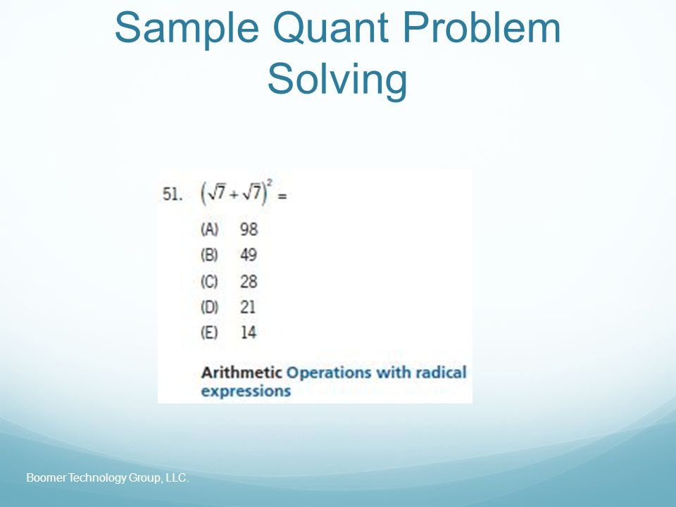 Sample Quant Problem Solving Boomer Technology Group, LLC.