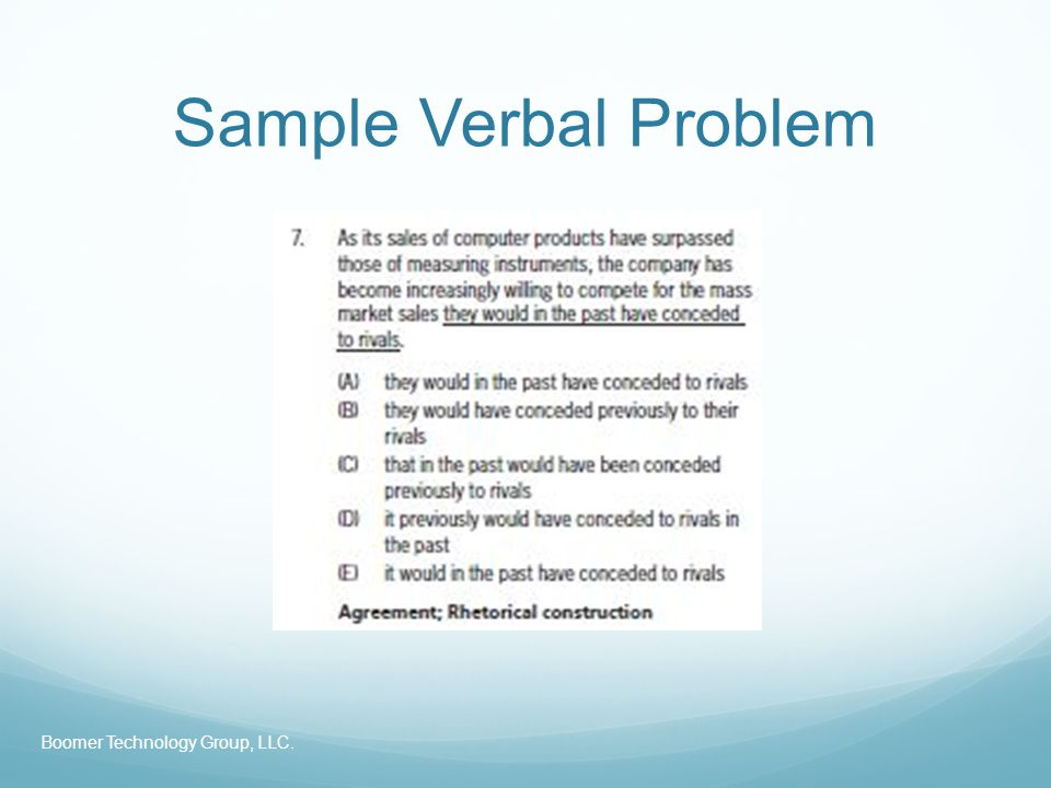 Sample Verbal Problem Boomer Technology Group, LLC.