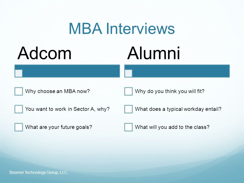 MBA Interviews Adcom Why choose an MBA now? You want to work in Sector A, why? What are your future goals? Alumni Why do you think you will fit? What