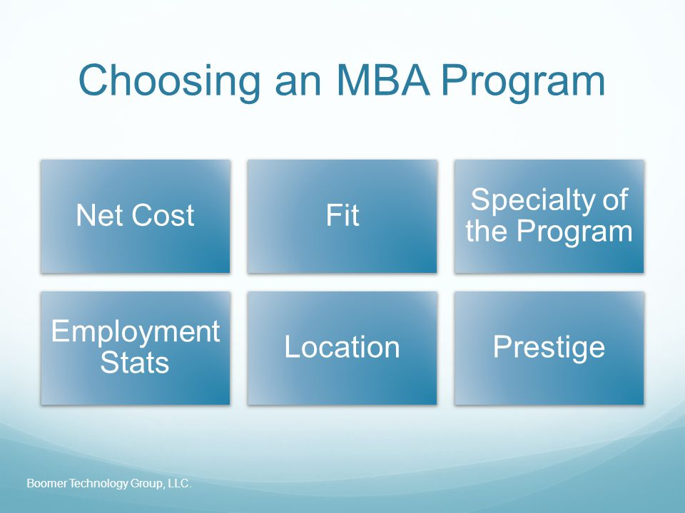 Choosing an MBA Program Net CostFit Specialty of the Program Employment Stats LocationPrestige Boomer Technology Group, LLC.