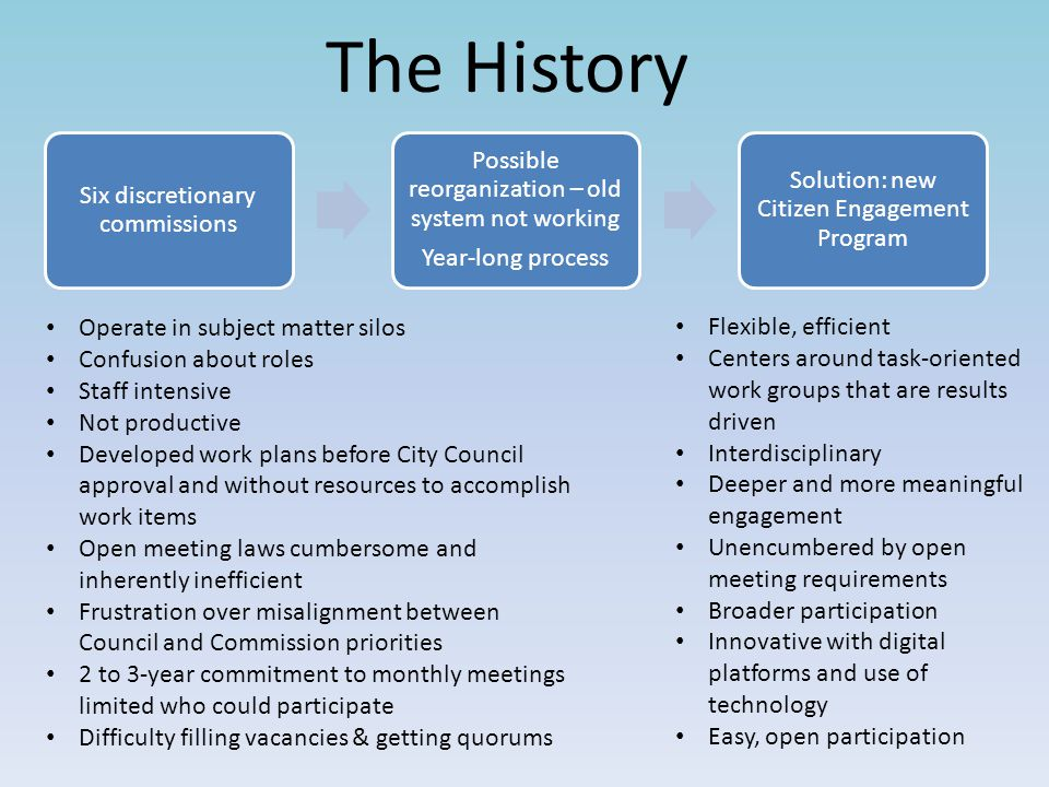 The History Six discretionary commissions Possible reorganization – old system not working Year-long process Solution: new Citizen Engagement Program