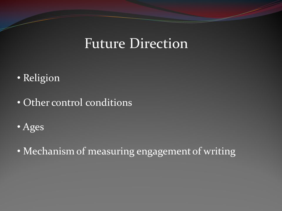 Future Direction Religion Other control conditions Ages Mechanism of measuring engagement of writing