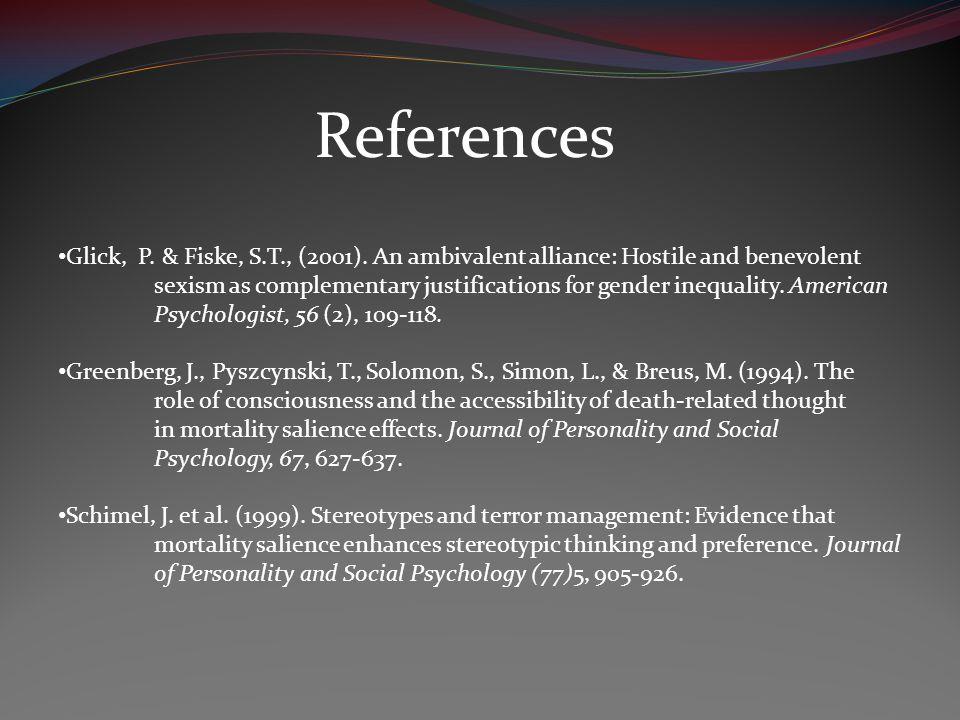 References Glick, P. & Fiske, S.T., (2001).