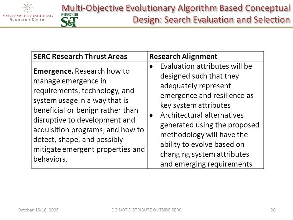 Multi-Objective Evolutionary Algorithm Based Conceptual Design: Search Evaluation and Selection October 15-16, 200928DO NOT DISTRIBUTE OUTSIDE SERC SERC Research Thrust AreasResearch Alignment Emergence.