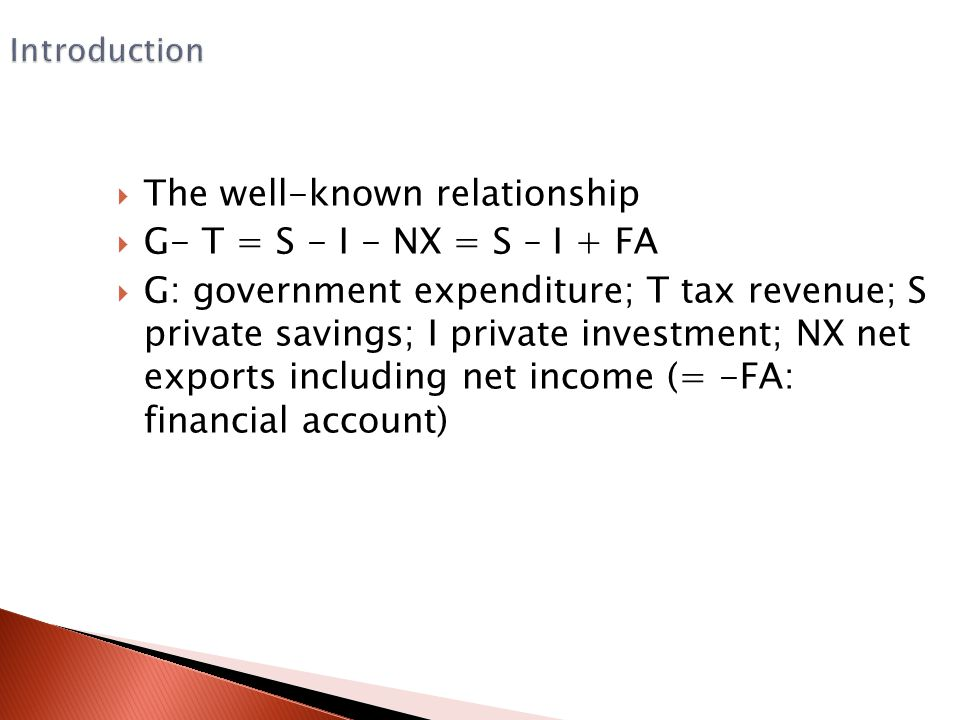 Introduction  The well-known relationship  G- T = S - I - NX = S – I + FA  G: government expenditure; T tax revenue; S private savings; I private i