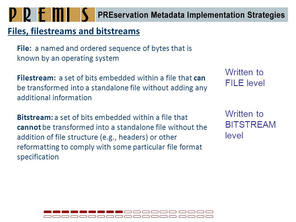 Files, filestreams and bitstreams File: a named and ordered sequence of bytes that is known by an operating system Filestream: a set of bits embedded