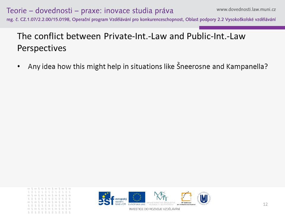 The conflict between Private-Int.-Law and Public-Int.-Law Perspectives Any idea how this might help in situations like Ṥneerosne and Kampanella.