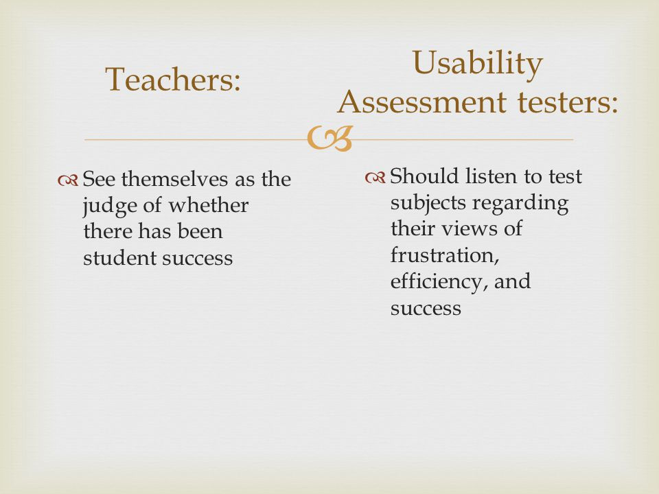   See themselves as the judge of whether there has been student success Teachers: Usability Assessment testers:  Should listen to test subjects regarding their views of frustration, efficiency, and success