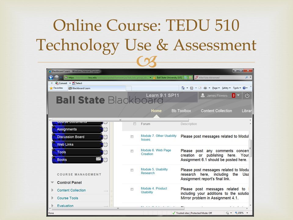  Online Course: TEDU 510 Technology Use & Assessment