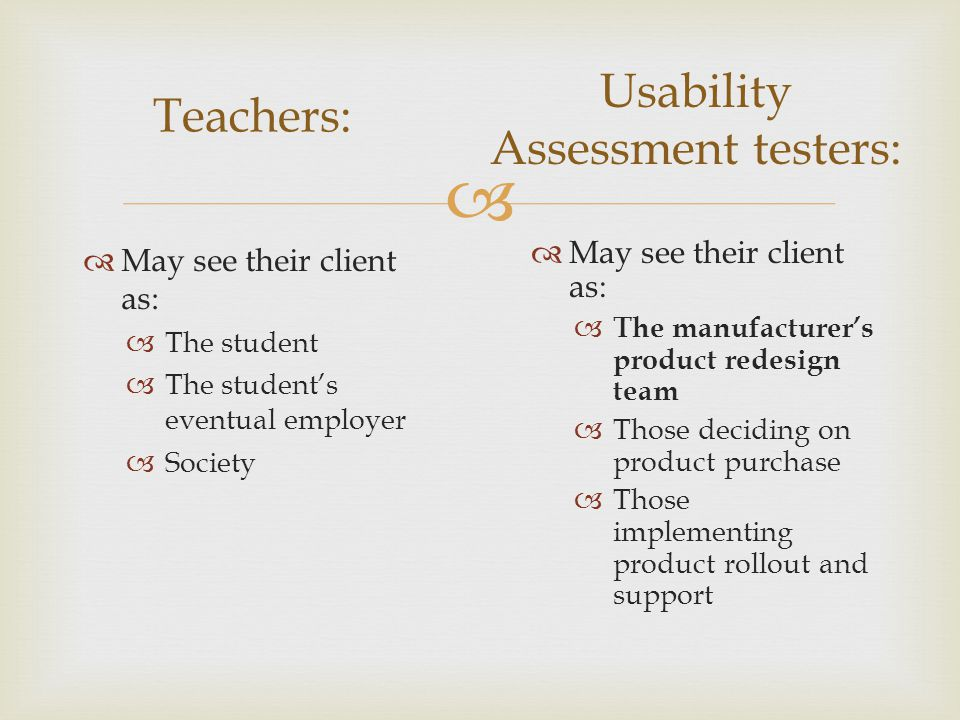  May see their client as:  The student  The student's eventual employer  Society Teachers: Usability Assessment testers:  May see their client as:  The manufacturer's product redesign team  Those deciding on product purchase  Those implementing product rollout and support
