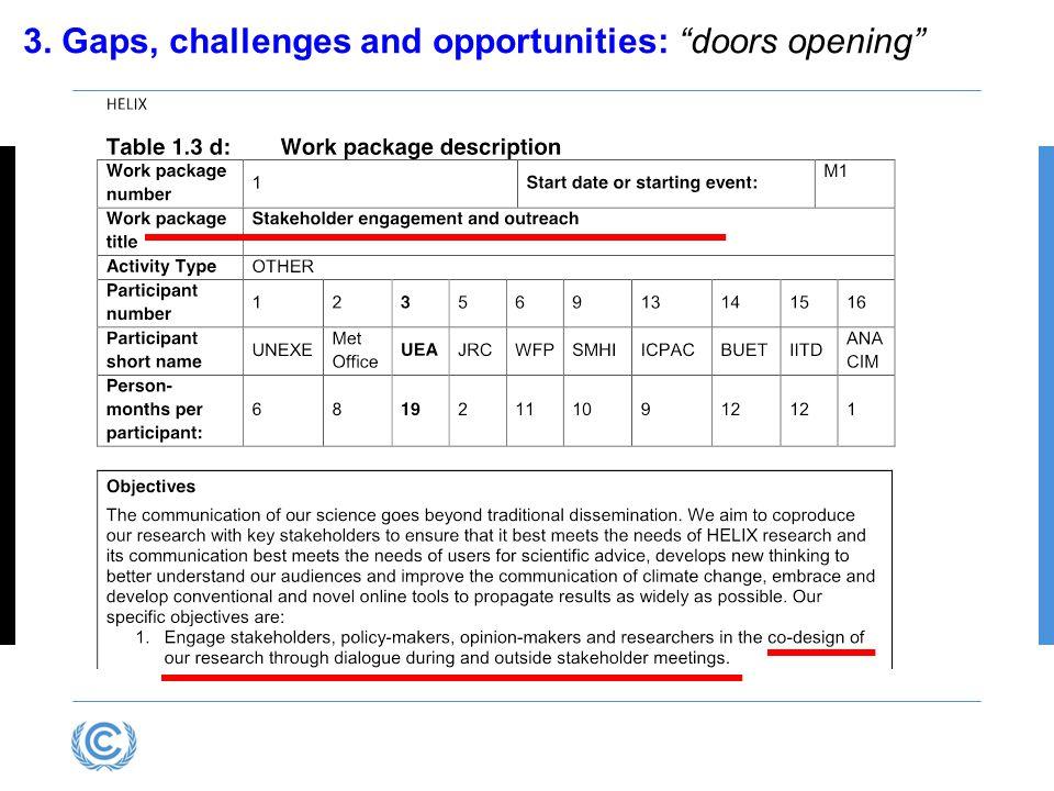 "3. Gaps, challenges and opportunities: ""doors opening"""