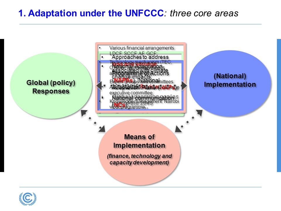 1. Adaptation under the UNFCCC: three core areas Global (policy) Responses (National) Implementation Means of Implementation (finance, technology and