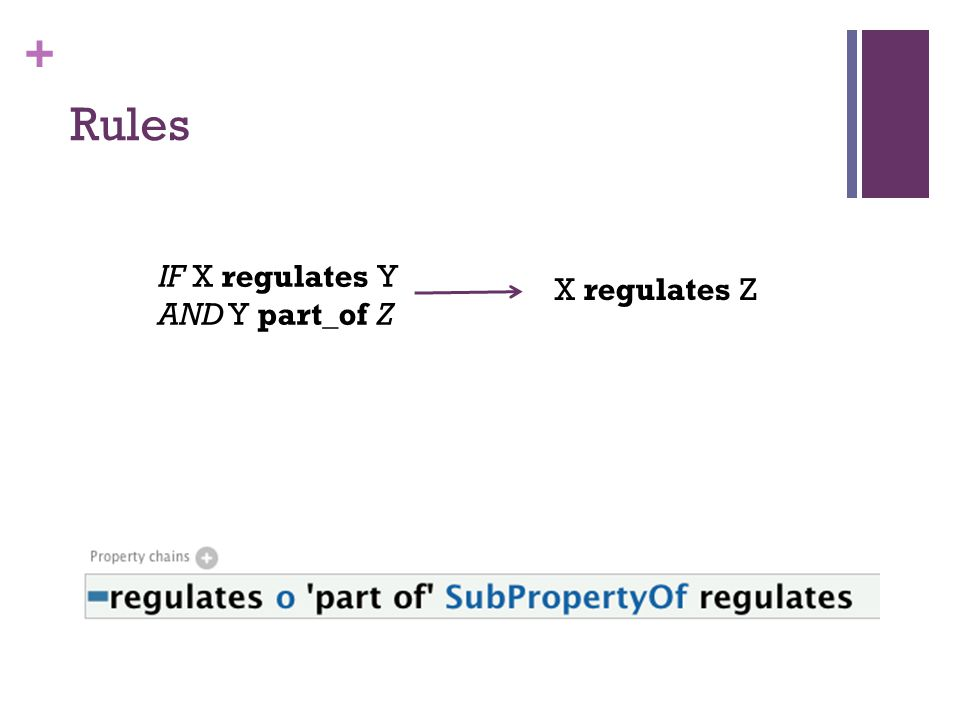 + Rules IF X regulates Y AND Y part_of Z X regulates Z