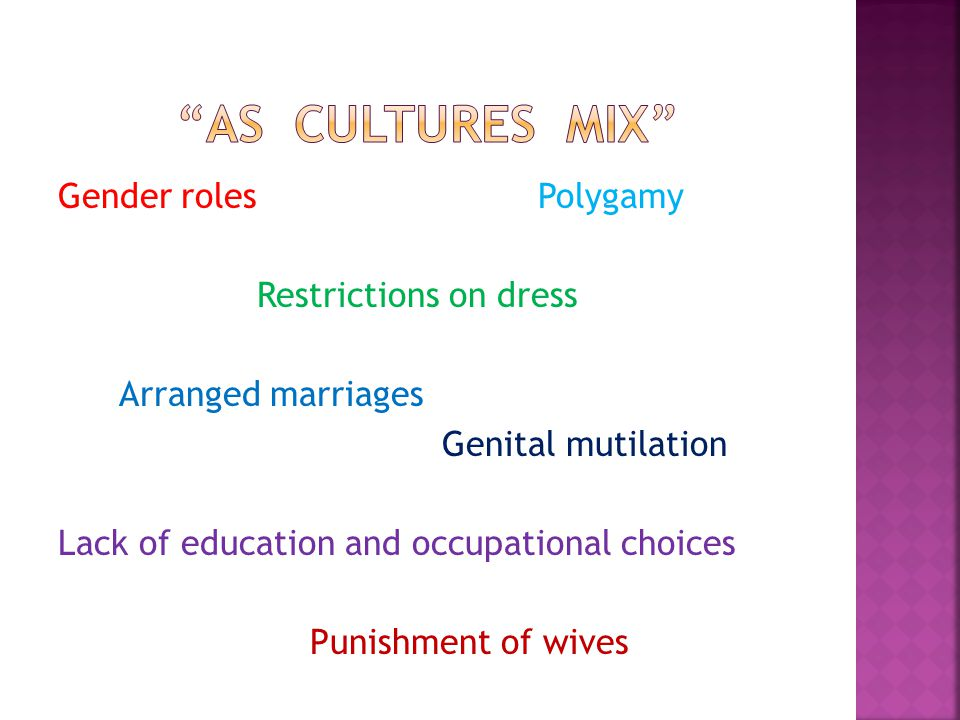 Gender rolesPolygamy Restrictions on dress Arranged marriages Genital mutilation Lack of education and occupational choices Punishment of wives