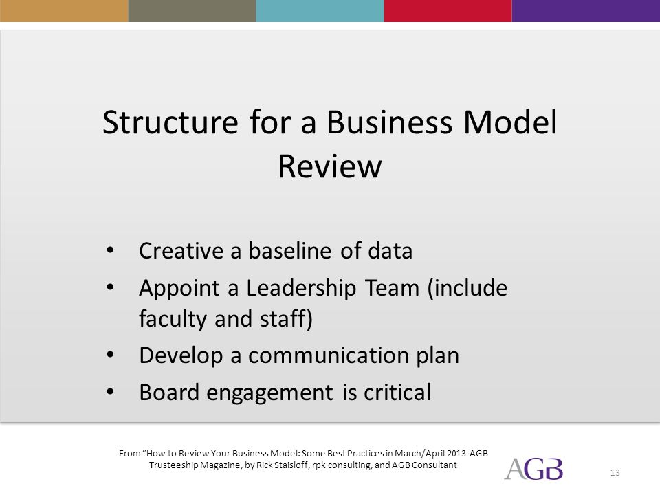 13 Structure for a Business Model Review Creative a baseline of data Appoint a Leadership Team (include faculty and staff) Develop a communication plan Board engagement is critical From How to Review Your Business Model: Some Best Practices in March/April 2013 AGB Trusteeship Magazine, by Rick Staisloff, rpk consulting, and AGB Consultant
