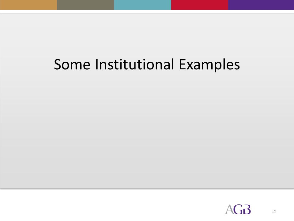 15 Some Institutional Examples
