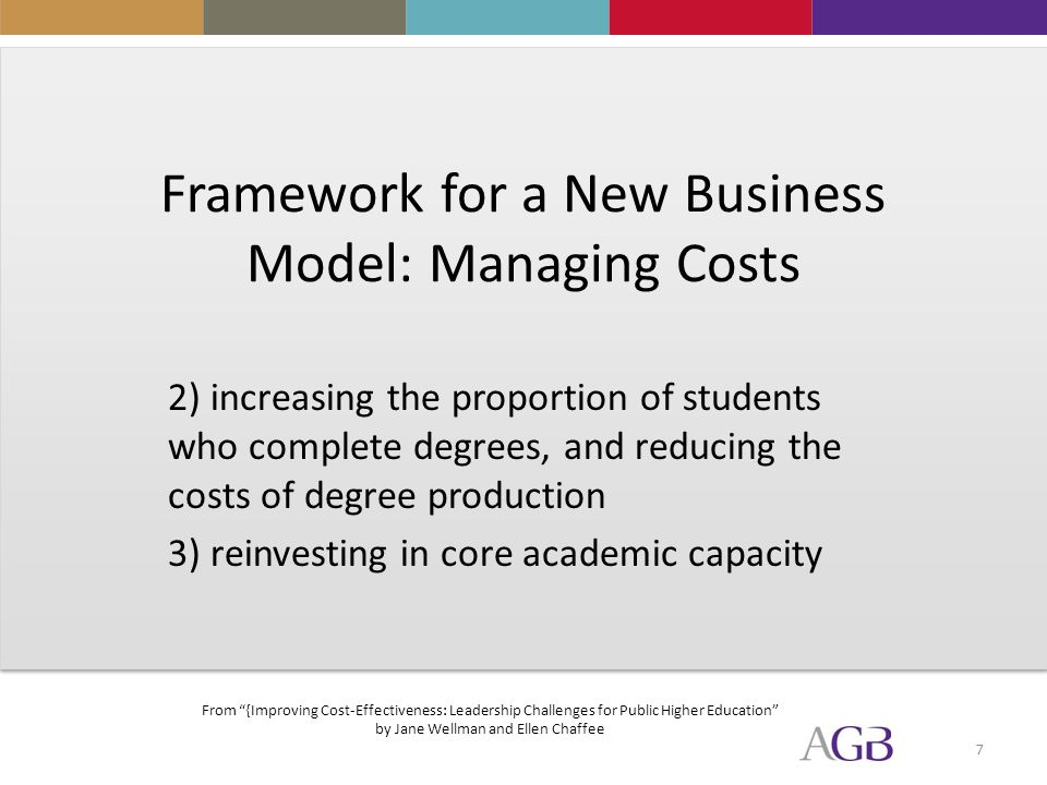 7 Framework for a New Business Model: Managing Costs 2) increasing the proportion of students who complete degrees, and reducing the costs of degree production 3) reinvesting in core academic capacity From {Improving Cost-Effectiveness: Leadership Challenges for Public Higher Education by Jane Wellman and Ellen Chaffee