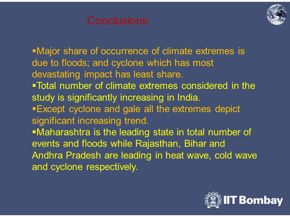 Conclusions  Major share of occurrence of climate extremes is due to floods; and cyclone which has most devastating impact has least share.