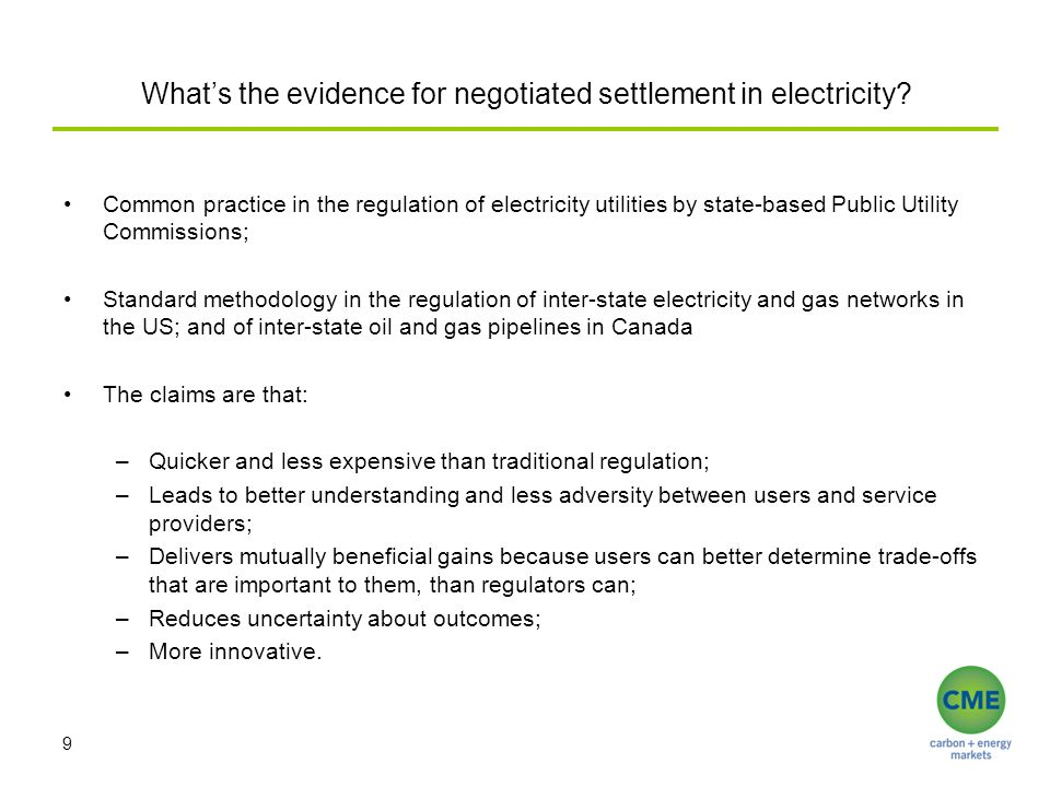 What's the evidence for negotiated settlement in electricity.