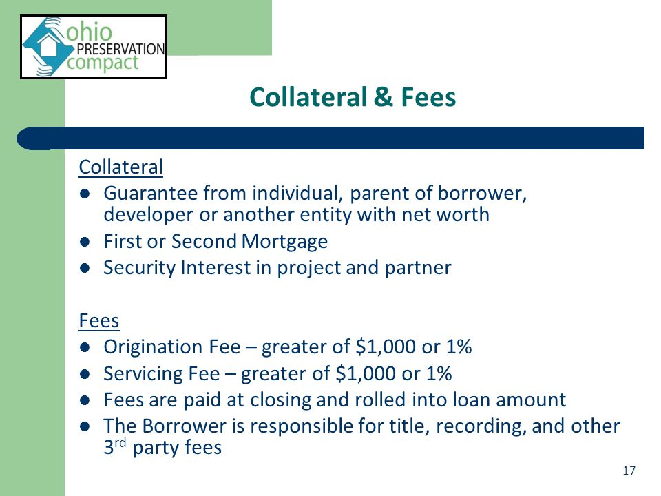 Collateral & Fees Collateral Guarantee from individual, parent of borrower, developer or another entity with net worth First or Second Mortgage Security Interest in project and partner Fees Origination Fee – greater of $1,000 or 1% Servicing Fee – greater of $1,000 or 1% Fees are paid at closing and rolled into loan amount The Borrower is responsible for title, recording, and other 3 rd party fees 17