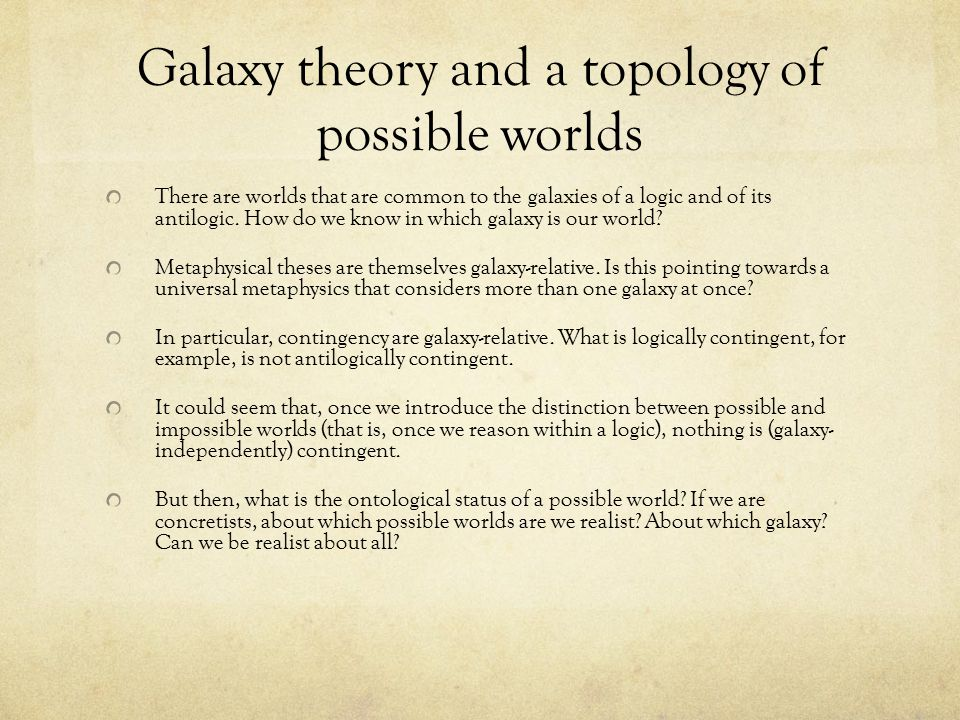 Galaxy theory and a topology of possible worlds There are worlds that are common to the galaxies of a logic and of its antilogic.