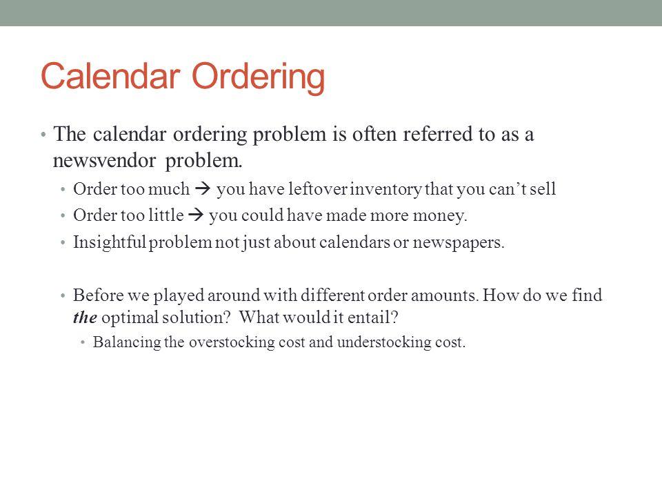 Calendar Ordering Solution Suppose we ordered Q=200 calendars.
