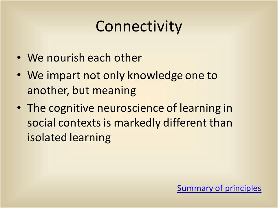 Connectivity We nourish each other We impart not only knowledge one to another, but meaning The cognitive neuroscience of learning in social contexts is markedly different than isolated learning Summary of principles