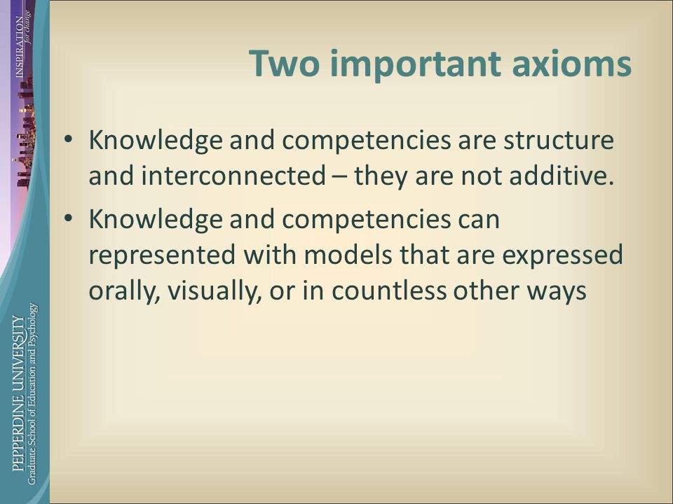Two important axioms Knowledge and competencies are structure and interconnected – they are not additive.