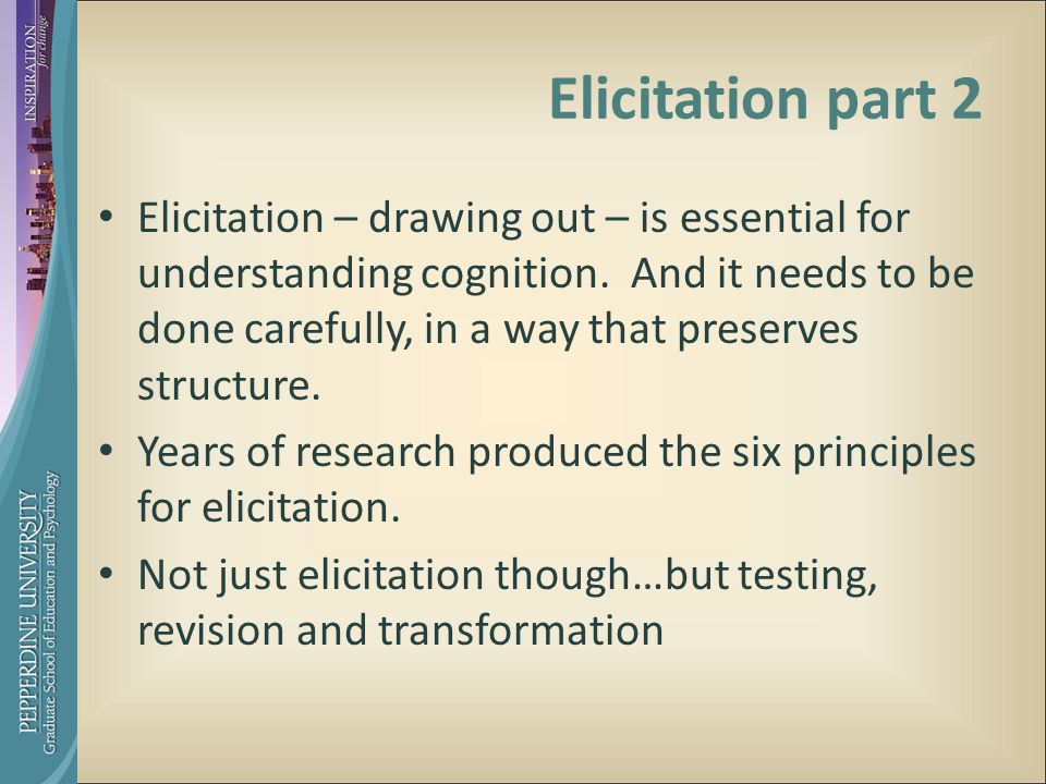 Elicitation part 2 Elicitation – drawing out – is essential for understanding cognition.