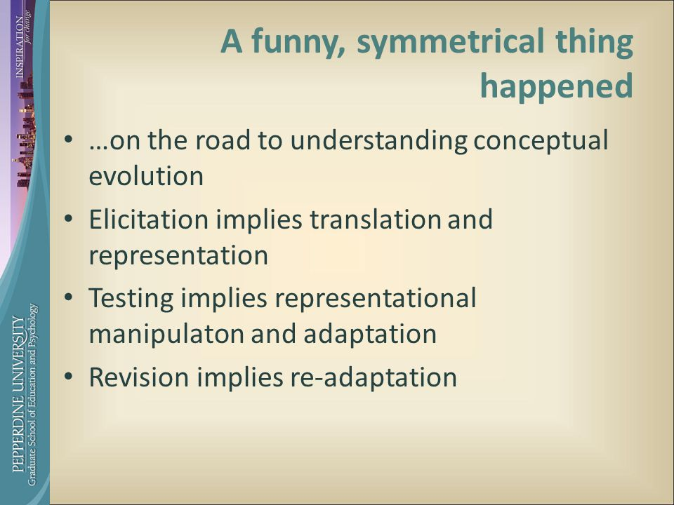 A funny, symmetrical thing happened …on the road to understanding conceptual evolution Elicitation implies translation and representation Testing implies representational manipulaton and adaptation Revision implies re-adaptation