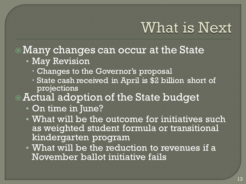  Many changes can occur at the State May Revision  Changes to the Governor's proposal  State cash received in April is $2 billion short of projections  Actual adoption of the State budget On time in June.