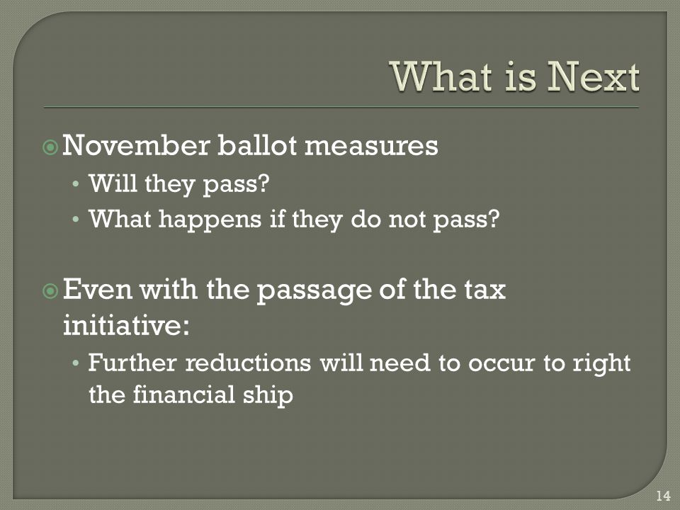  November ballot measures Will they pass. What happens if they do not pass.