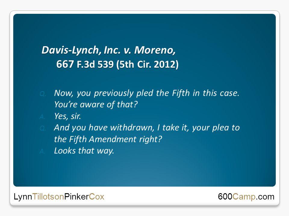 Davis-Lynch, Inc. v. Moreno, 667 F.3d 539 (5th Cir.