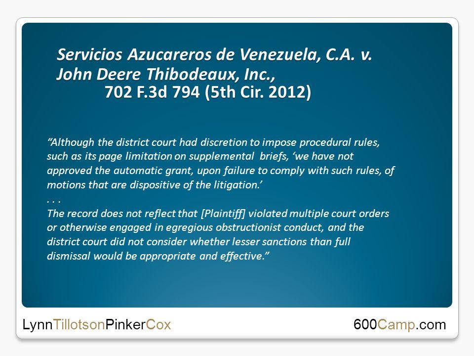 Servicios Azucareros de Venezuela, C.A. v. John Deere Thibodeaux, Inc., 702 F.3d 794 (5th Cir.