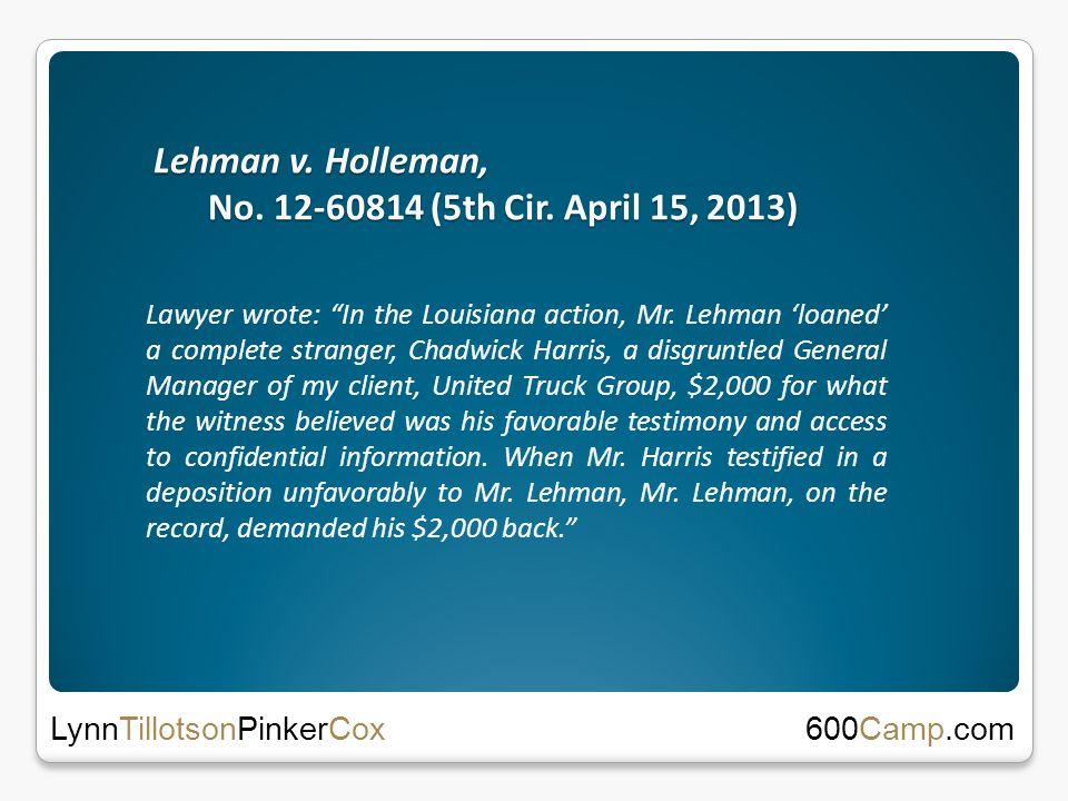 Lehman v. Holleman, No. 12-60814 (5th Cir.