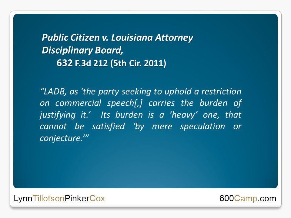 Public Citizen v. Louisiana Attorney Disciplinary Board, 632 F.3d 212 (5th Cir.