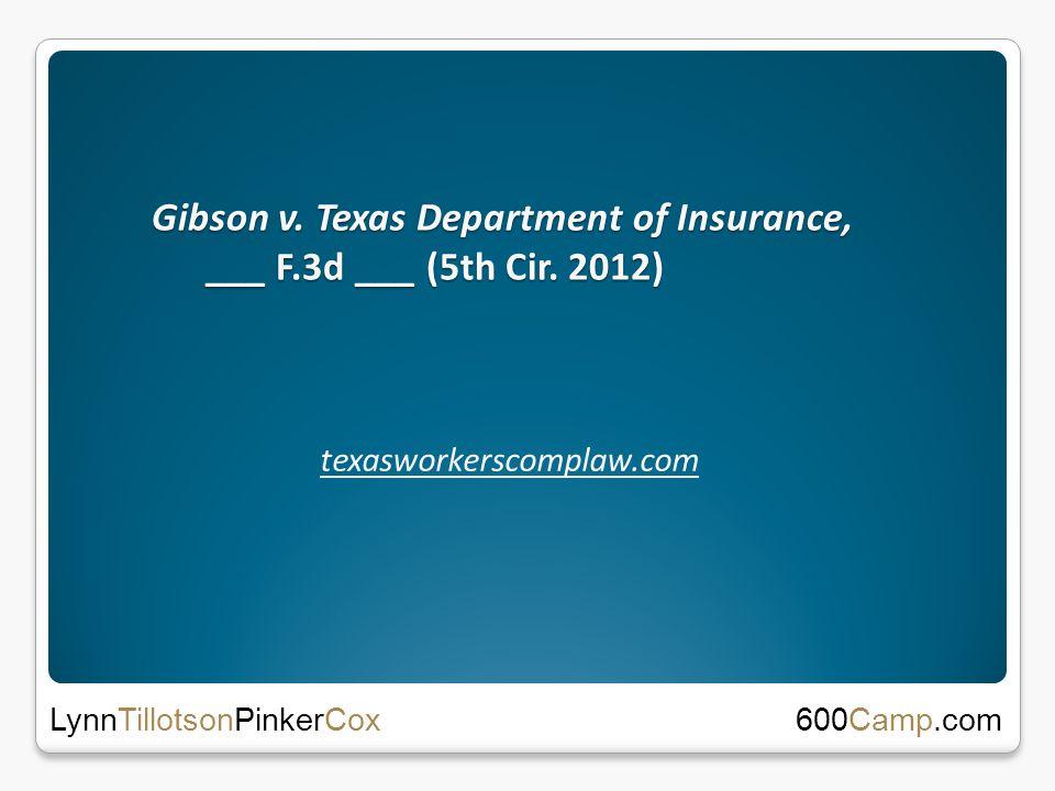 Gibson v. Texas Department of Insurance, ___ F.3d ___ (5th Cir.