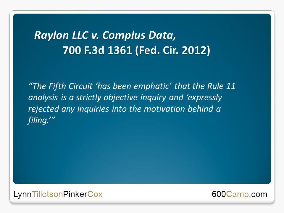 Raylon LLC v. Complus Data, 700 F.3d 1361 (Fed. Cir.