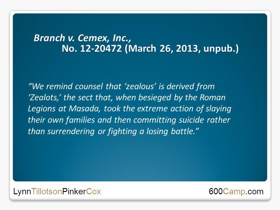Branch v. Cemex, Inc., No.