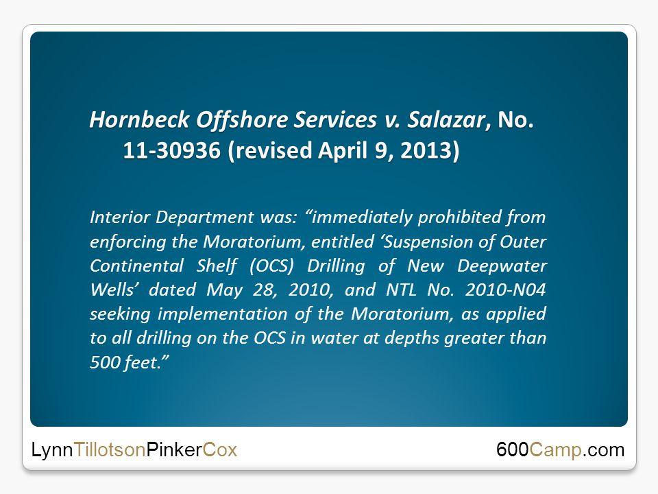 Hornbeck Offshore Services v. Salazar, No.