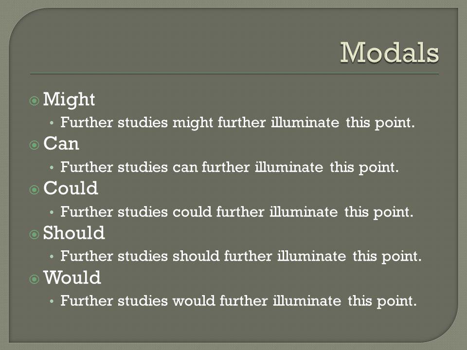  Might Further studies might further illuminate this point.  Can Further studies can further illuminate this point.  Could Further studies could fu