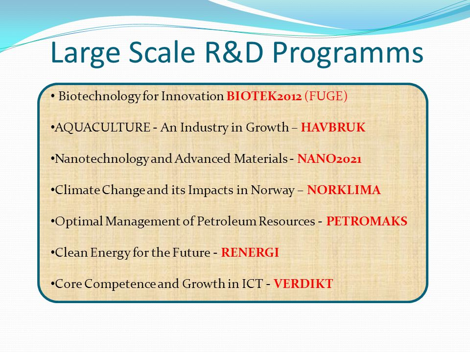 Large Scale R&D Programms Biotechnology for Innovation BIOTEK2012 (FUGE) AQUACULTURE - An Industry in Growth – HAVBRUK Nanotechnology and Advanced Mat