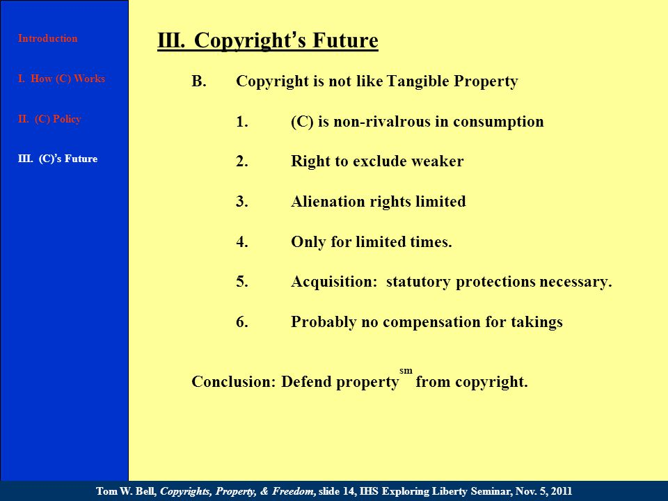 III. Copyright ' s Future A.Natural right or statutory privilege.