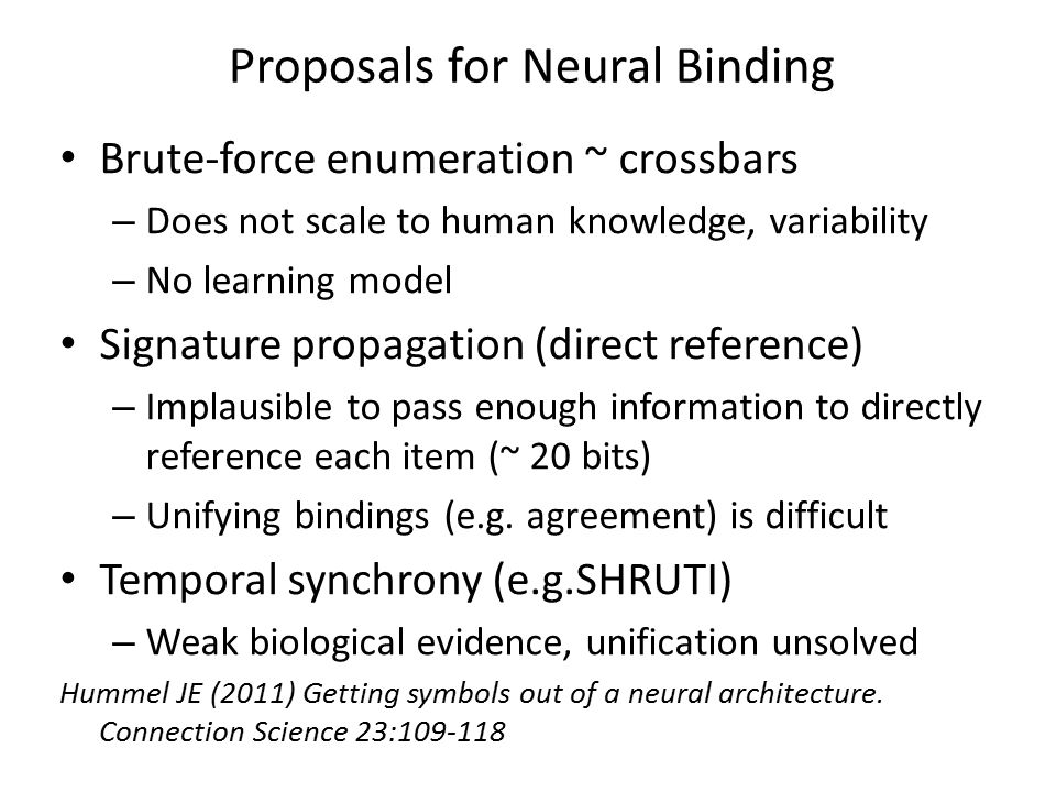 Proposals for Neural Binding Brute-force enumeration ~ crossbars – Does not scale to human knowledge, variability – No learning model Signature propag