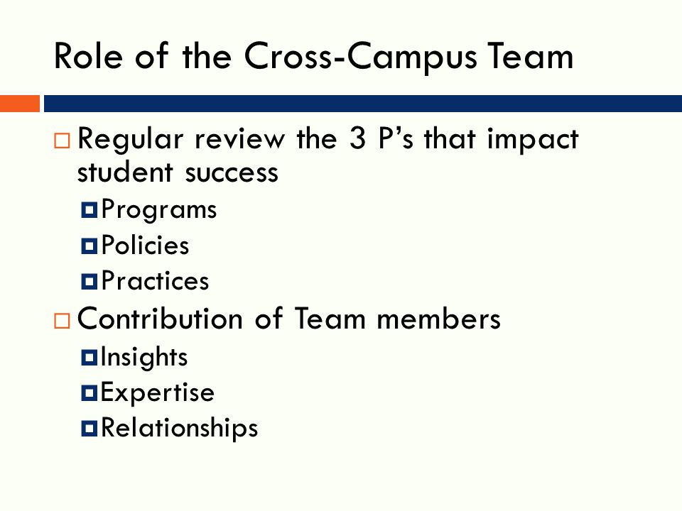 Role of the Cross-Campus Team  Regular review the 3 P's that impact student success  Programs  Policies  Practices  Contribution of Team members  Insights  Expertise  Relationships