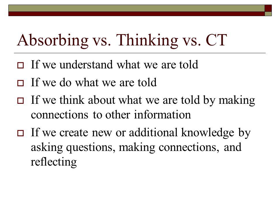 Absorbing vs. Thinking vs.